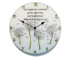 Picture Clock, White Wall Clocks, Clock Painting, Dandelion Clock, Personalized Couple Gifts, Modern Clock, Thing 1, Wedding Gifts For Couples, Flower Wall Decor