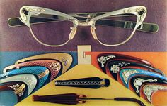 early chrome postcard advertising special decorative clip-on pieces to jazz up your eyeglasses. Fun.