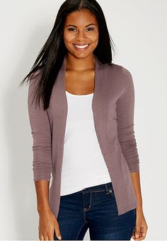 cardigan with ribbed collar in plum raisin (original price, $34) available at #Maurices