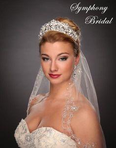 Regal Wedding Tiara by Symphony Bridal - Affordable Elegance Bridal - Bridal Crown, Bridal Updo, Headpiece Wedding, Wedding Themes, Wedding Styles, Rhinestone Wedding, Bling Wedding, Affordable Bridal, Wedding Tiaras
