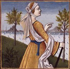 XLVI-Gaia Cyrilla, épouse du roi Tarquin l'Ancien (TANAQUIL or Gaia Cyrilla or Gaia Caecilia, wife of Tarquinius Priscus, fifth king of Rome) -- Giovanni Boccaccio (1313-1375), Le Livre des cleres et nobles femmes, v. 1488-1496, Cognac (France), traducteur anonyme. -- Illustrations painted by Robinet Testard -- BnF Français 599 fol. 41v