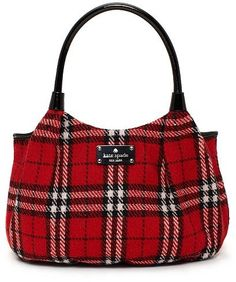 Kate Spade Plaid Bag Love Red White Black