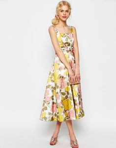 ASOS+Bow+Front+Midi+Prom+Dress+In+Yellow+And+Pink+Florals