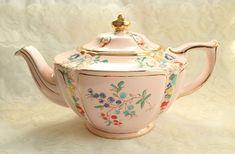 Vintage Pink Sadler Teapot Lamp Shape Hand Painted Enamel Flower Berry Full Size