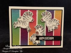 Zany Zebras Birthday Card - Purchase the Stampin' Up Supplies for this card at StampKnowHow.com Cute Birthday Cards, Handmade Birthday Cards, Rubber Stamping Techniques, Zebra Birthday, Friendship Cards, Animal Cards, Card Tags, Zebras, Kids Cards