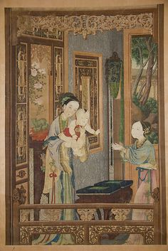 Interior with Woman, Child and Nurse Unidentified Artist Period: Qing dynasty (1644–1911) Date: late 18th–early 19th century Culture: China