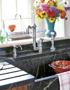 soapstone sink with built in drain board - Early American Country Kitchen - Country Living