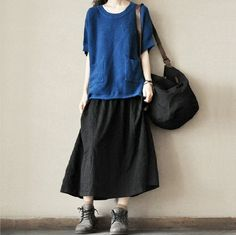 Black Causel Loose Cotton Soft Knitted Skirt Women Clothing – FantasyLinen