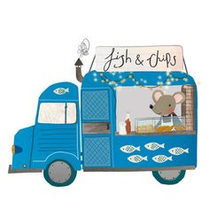 For those days when you just don't fancy cooking . get fish and chips from the mouse van Fish And Chip Shop, Blue Vans, Those Days, Cute Mouse, Fish And Chips, Just Don, Pattern Design, Fancy, Wall Art