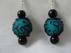 Blue and Black Lamp Work Bead Earrings jewelry by parrot770, $20.00