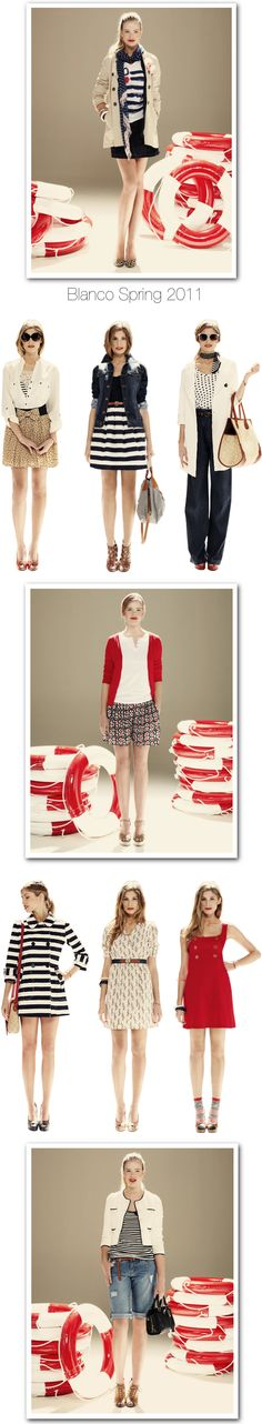 Blanco Spring 2011: All pretty but I am especially crushing on the stripe skirt and jean jacket look. #fashion #spring2011 #blanco