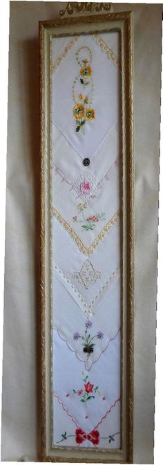 Hankies or Vintage Linens in a frame. Picture only.