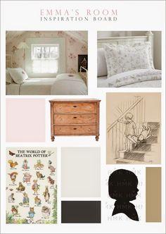 Little Girl Room Inspiration Board | Pink, Ivory, Grey, Black & Fairytales