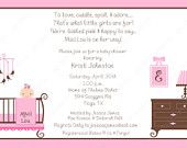 10  Twin Girls Baby Shower Invitations with Envelopes.  Free Return Address Labels