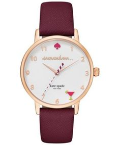 kate spade new york Women's Merlot Leather Strap Watch 34mm KSW1041