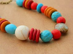 Turquoise Tribal Necklace  Blue Turquoise Coral Tribal by gabeadz