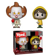 Will Pennywise convince Georgie to float?This Vynl. pair features Pennywise holding his enticing red balloon,and Georgie - complete with his raincoat and SS Geo It 2017 Pennywise, Clown Pennywise, Funko Pop Figures, Vinyl Figures, Action Figures, Vinyl Toys, Funko Pop Vinyl, Paw Patrol, Films Stephen King