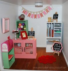 An American Girl at Play -- Doll craft store decorated for Valentine's Day! American Girl Doll Room, American Girl Furniture, American Girl Crafts, American Girls, Ag Dolls, Cute Dolls, Girl Dolls, Doll Crafts, Diy Doll