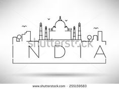 India City Line Silhouette Typographic Design