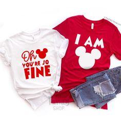 Oh Mickey You're So Fine - I Am Mickey / Valentine's Day Disney Couple Shirts Cute Disney Shirts, Disney Couple Shirts, Matching Disney Shirts, Matching Couple Shirts, Disney Couples, Couple Outfits, Disney Outfits, Disney Fashion, Punk Fashion