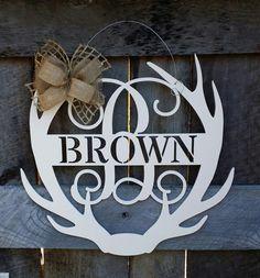 Monogram Antler Door Hanger - Painted Family Monogram - Wedding Gift - Housewarming Gift - Personalized Gift - Personalized Door Hanger by NeedmoreHeart on Etsy https://www.etsy.com/listing/267083825/monogram-antler-door-hanger-painted