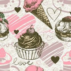 Seamless pattern with hand drawn ice cream and cakes Love background with doodle hearts