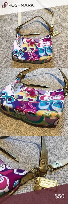 Authentic COACH cross body Beautiful shades of purple, magenta, white, gold, yellow, light blue, royal blue, and green.  With a metallic gold shoulder strap, or the tan crossbody strap.  Adorable summer purse in EXCELLENT like new condition. (small pencil marking inside, as shown in last photo) Coach Bags Crossbody Bags