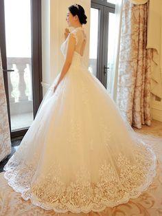 Ericdress Pretty High Neck Appliques Ball Gown Wedding Dress Wedding Dresses 2016- ericdress.com 11513044