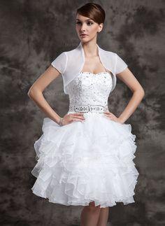A-Line/Princess Sweetheart Knee-Length Organza Satin Wedding Dress With Beading Sequins Cascading Ruffles (002024083) - JJsHouse