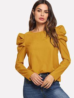 Elegant Plain Top Regular Fit Round Neck Long Sleeve Puff Sleeve Pullovers Ginger Regular Length Keyhole Back Leg-of-mutton Sleeve Top