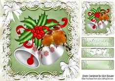White christmas bells bows with robins 8x8 on Craftsuprint - Add To Basket!