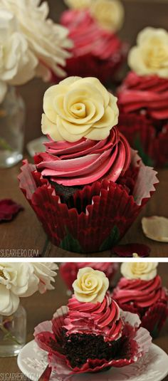 Chocolate Rose Cupcakes - plus a tutorial on how to make edible white chocolate roses! | SugarHero.com