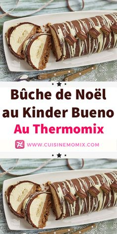 Bûche de Noël au Kinder Bueno au Thermomix Christmas log with Kinder Bueno at Thermomix. Discover the recipe for the Christmas log at Kinder Bueno, simple and easy to make at home at Thermomix. Thermomix Desserts, Easy Desserts, Yule Log, Food And Drink, Pork, Apple, Cooking, Ethnic Recipes, Danielle Brooks
