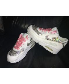 newest 95f2e bee07 Nike Air Max 90 White Red Womens Swarovski Crystal Trainers Trainers Sale UK