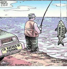 Funny comics Bizarro Comic (by Dan Piraro) Funny Fishing Memes, Fishing Quotes, Fishing Humor, Funny Memes, Fishing Stuff, Hilarious, Bizarro Comic, Gone Fishing, Fishing Hats