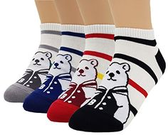 Ice Cold Cool Polar Bear in a Letter Jacket Striped Socks Set Grey Socks, Striped Socks, Sock Animals, Cute Socks, Cotton Socks, Polar Bear, Couture, One Size Fits All, Cool Outfits