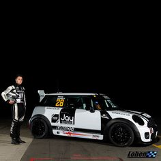Henry Duprey posing with his Lohen-built Mini Challenge UK JCW prior to his first race weekend.