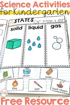 Kindergarten Science Interactive Journals and a FREEBIE! B's Beehive States of matter freebie to help your kindergarten students learn the difference between solids, liquids, and gases. Science Curriculum, Preschool Science, Elementary Science, Science Experiments Kids, Science Classroom, Science Lessons, Teaching Science, Science For Kids, Science Resources