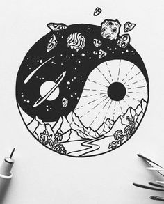 Pin by crazy k, fanstagram on drawings in 2019 tattoo drawings, art sketche Space Drawings, Cool Art Drawings, Easy Drawings, Tattoo Drawings, Drawing Sketches, Drawing Ideas, Arte Yin Yang, Yin Yang Art, Diy Tattoo