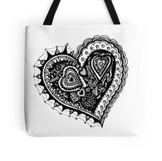Zentangle Valentine Heart 2 by Heather Holland on Redbubble at http://www.redbubble.com/people/heatherian/works/13609301-zentangle-valentine-heart-2-by-heather-holland?p=tote-bag.  Other items available.  Duvet cover to follow soon.