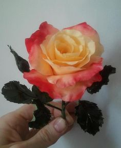 """This is a """"Dream Come True"""" tea rose made completely out of gum paste (sugar) This rose is one of many images to come to Pinterest from me!"""