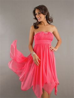 Strapless Straight Neckline Beaded and Pleated High-Low Hemline Chiffon Prom Dress PD1311 www.tidedresses.co.uk $146.0000