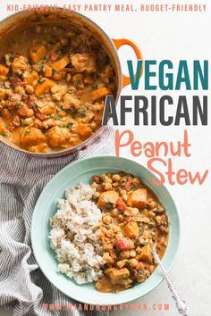 This vegan African peanut stew is rich and flavorful and uses staple pantry ingredients. Made in one pot, requires minimal prep work, loaded with nutrition – It's an easy family meal! Serve over rice, pasta, bread, tortilla…And if you're looking for baby led weaning recipes, be sure to save this one!