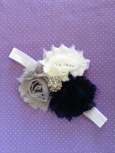 Infant Headbands - Baby Headbands - Newborn Headbands - 3 Color Navy, Grey, White Shabby Chic Rosette Headband - Photo Prop