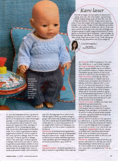 Albumarkiv Knitted Doll Patterns, Crotchet Patterns, Knitted Dolls, Crochet Dolls, Barbie Clothes Patterns, Doll Dress Patterns, Baby Born Clothes, Girl Doll Clothes, Reborn Dolls