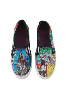 I want these!!!   Disney Beauty And The Beast Stained Glasses Slip-On Sneakers | Hot Topic