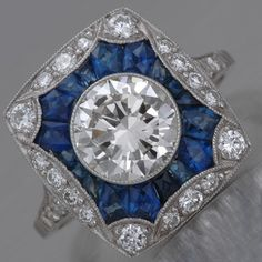 """Art Deco Engagement Ring Brilliant-cut Diamond, 1920's.  These """"Calibre"""" style rings are amazing.  My favorite style by far."""