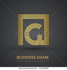 Letter G logo in a square. Gold colored. Vector design template elements  for company identity. - stock vector