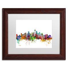 Seattle Washington Skyline by Michael Tompsett Framed Graphic Art