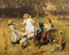 "Frederick Morgan - ""Ringroses"" ~ I love how he likes to hide people in his backgrounds... in this one at first it seems like these children are outside playing alone, but when you look closely you can see that their mother is keeping a watchful eye on them."